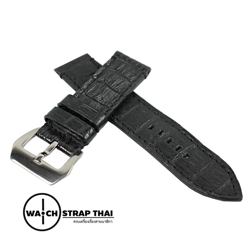 สายนาฬิกาหนังจระเข้แท้สำหรับ Panerai (Pam) Genuine Crocodile Leather Watch Strap Black ด้ายดำ ขนาด 24mm