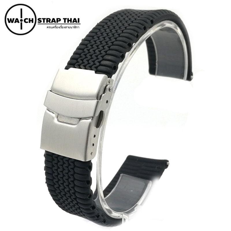 สายนาฬิกายาง บานพับ SET02 Rubber Watch Strap Black มีขนาด 20,22,24 mm