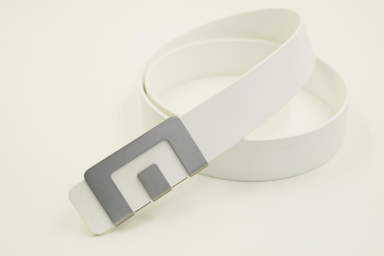 เข็มขัด MIN Belt หัวสแตนเลส - สายขาว