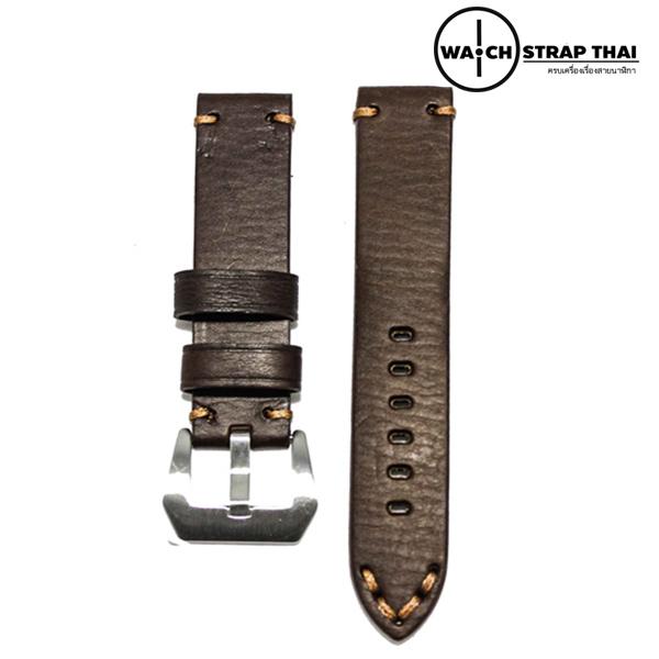 สายนาฬิกา สายนาฬิกาหนังวัว SET02 Leather Strap มีสี Dark Brown สีน้ำตาลเข้ม ขนาดความกว้างสาย 20 , 22 mm สำเนา