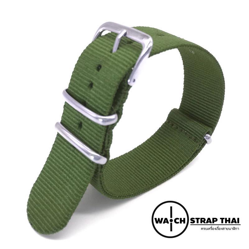 สายนาฬิกานาโต้ สายนาฬิกาผ้าไนลอนสีเขียว NATO Nylon Watch Strap Green มีขนาด 18 , 20 , 22 mm สำหรับ Rolex , Seiko , Omega
