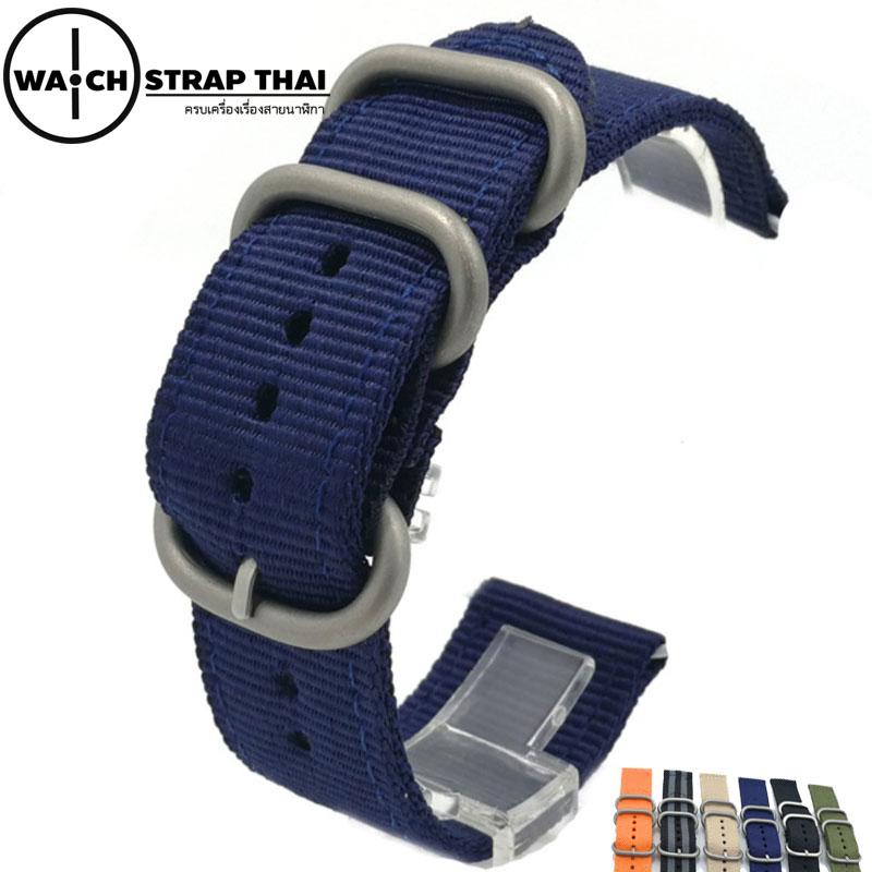 สายนาฬิกา สายนาฬิกาผ้าไนลอน SET02 Black Nylon Watch Strap สีน้ำเงิน Blue มีขนาด 20 , 22 mm