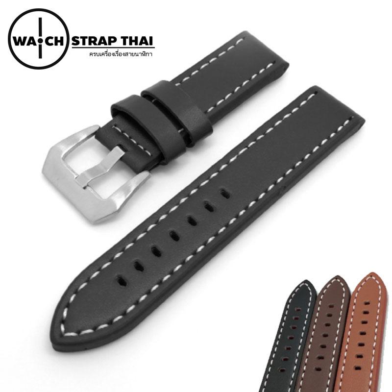 สายนาฬิกา สายนาฬิกาหนังวัว SET05 Leather Strap สีดำ Black ขนาด 22,24 มม สำหรับ Panerai,seiko