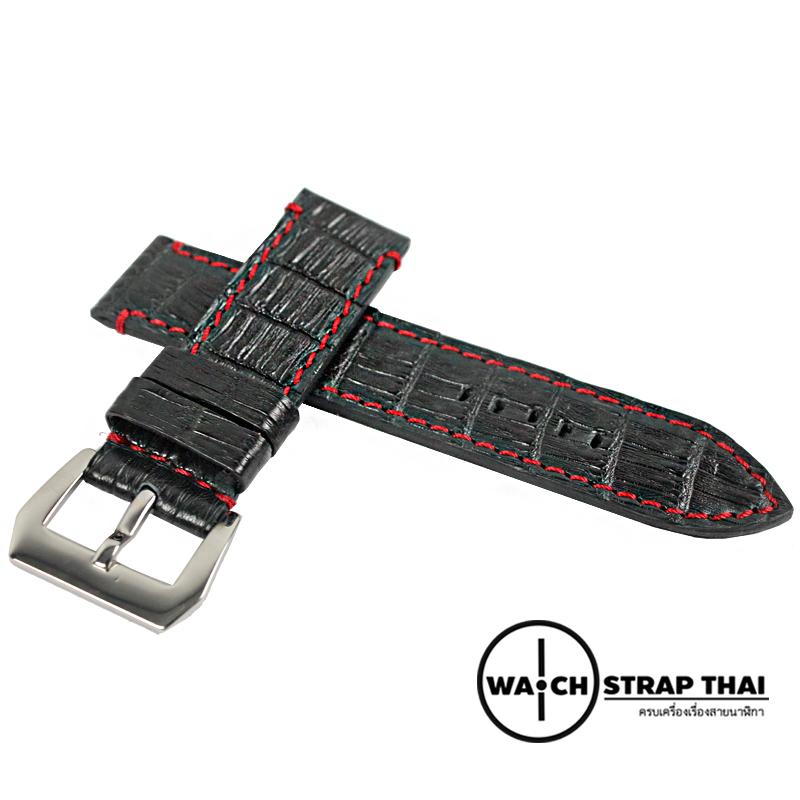 สายนาฬิกาหนังจระเข้แท้สำหรับ Panerai (Pam) Genuine Crocodile Leather Watch Strap Black ด้ายแดง ขนาด 24mm