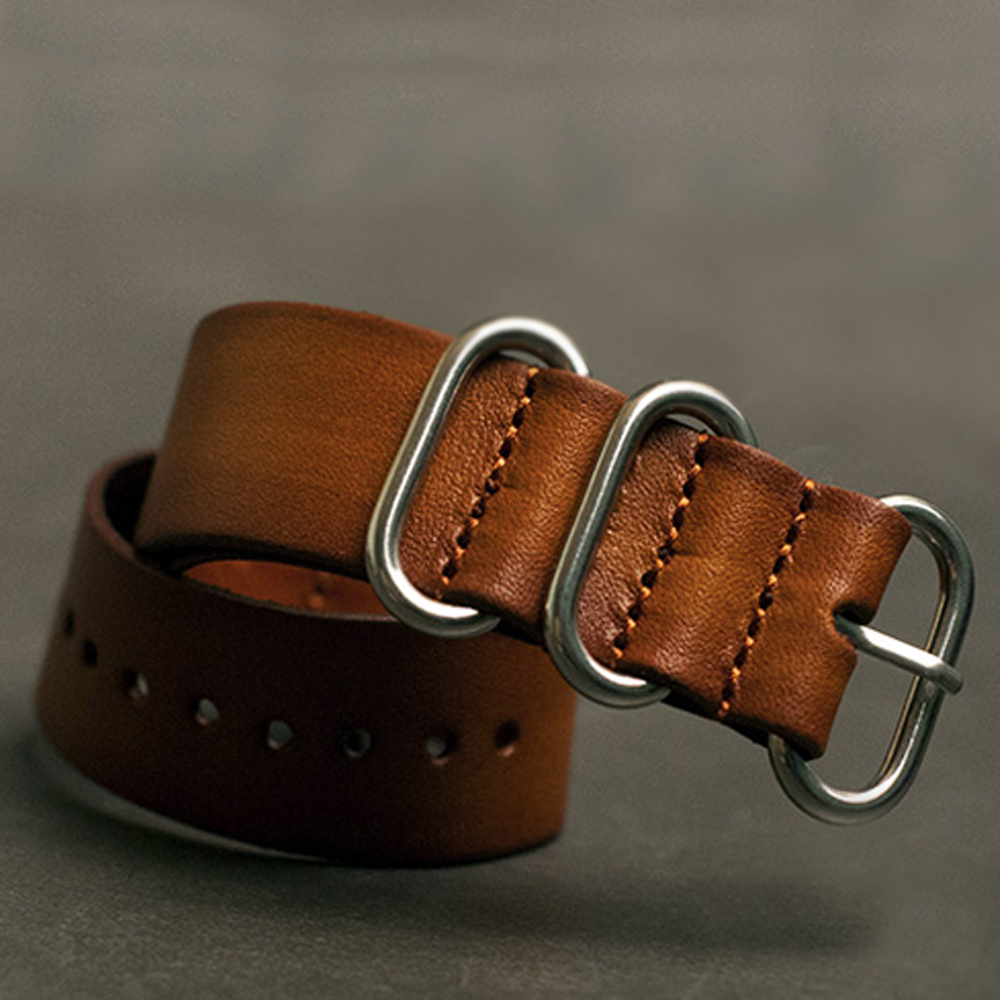 สายนาฬิกาซูลูสายหนัง สายนาฬิกาหนังวัว Zulu Leather Strap Brown Tan ขนาด 20,22,24 มม