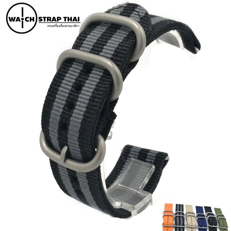 สายนาฬิกา สายนาฬิกาผ้าไนลอน SET02 Black Nylon Watch Strap ดำเทา Jamebond มีขนาด 20 , 22 mm