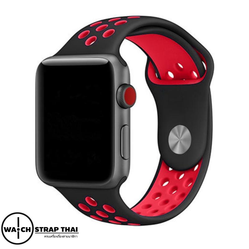 สายนาฬิกา Apple Watch สายนาฬิกายาง01 Apple watch rubber strap Black-Red ขนาด 38 mm , 42 mm