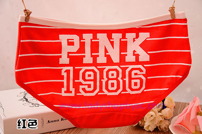 กางเกงในผ้าฝ้ายผสม ลายPINK สีแดงขอบชมพู
