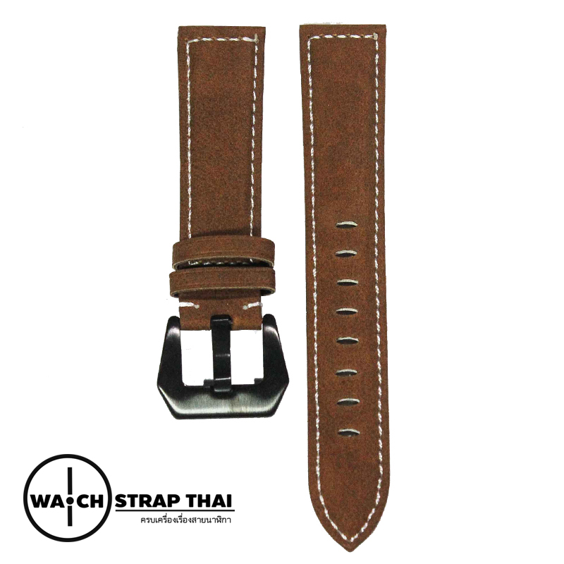 สายนาฬิกา สายนาฬิกาหนังวัวนูบัค สีน้ำตาล Nubuck Leather Brown SET01 Leather Strap ขนาด 20 , 22 mm