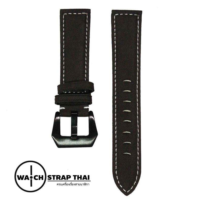 สายนาฬิกา สายนาฬิกาหนังวัวนูบัค สีน้ำตาลเข้ม Nubuck Leather Dark Brown SET01 Leather Strap ขนาด 20 , 22 mm