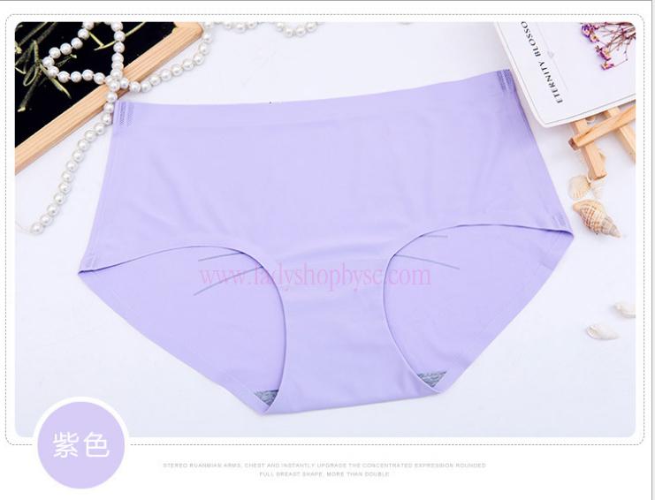 กางเกงในไร้ขอบพิมพ์ลายน่ารัก สีม่วง