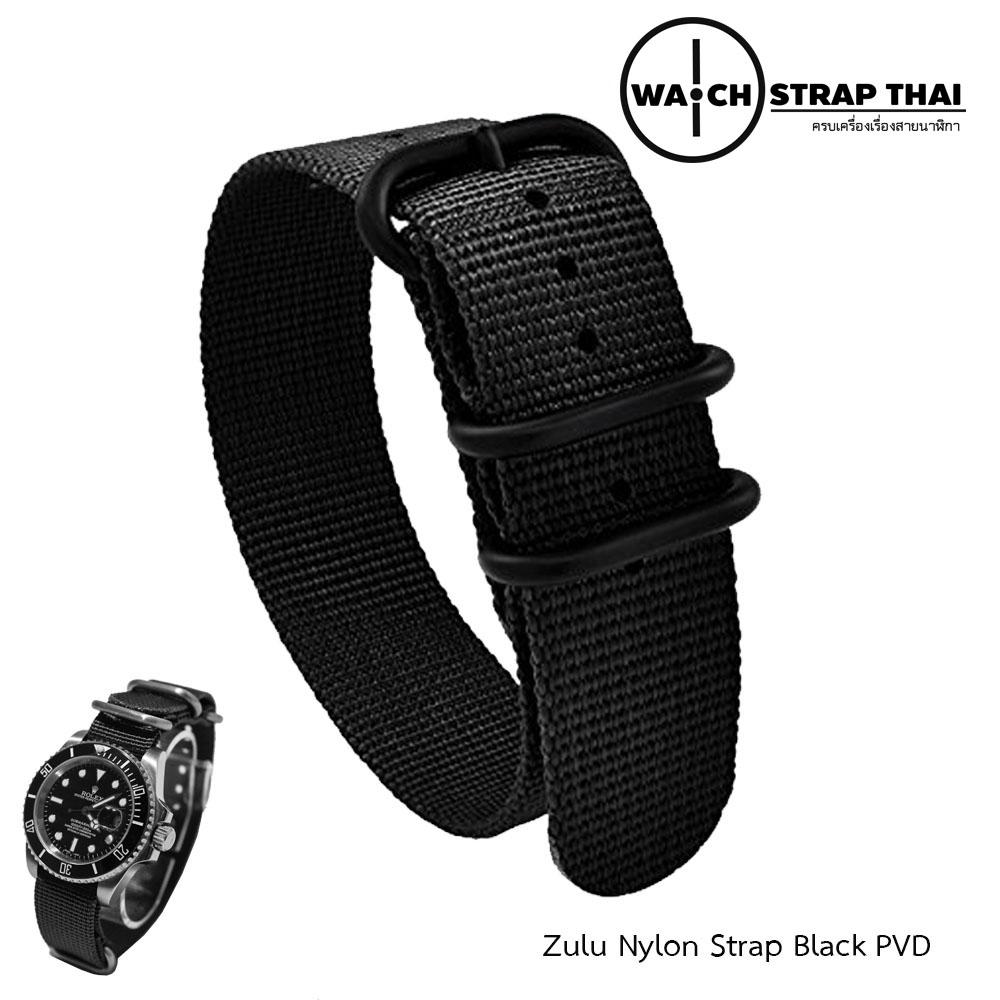 สายนาฬิกาซูลูหัว บัคเคิลดำ สายนาฬิกาผ้าไนลอน Black Zulu Nylon Watch Strap Black Buckle สีดำ มีขนาด 20 , 22 mm