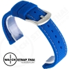 สายนาฬิกายาง SET03 สีน้ำเงินเดินด้ายขาว Rubber Watch Strap White มีขนาด 20,22 mm