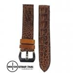สายนาฬิกาหนังจระเข้แท้ Genuine Crocodile Leather Watch Strap Brown 01 ขนาด 20 mm ,22mm,24mm