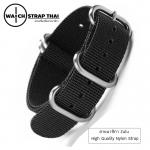 สายนาฬิกาซูลู สายนาฬิกาผ้าไนลอน Black Zulu Nylon Watch Strap มีสี ดำ มีขนาด 20 , 22 mm