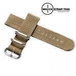 สายนาฬิกา สายนาฬิกาผ้าไนลอน SET02 Black Nylon Watch Strap สีครีมกากี Kaki มีขนาด 20 , 22 mm