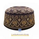CHAREEF B-009 หมวกสวมละหมาด หมวกกะปิเยาะห์ สีดำลายทอง