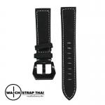 สายนาฬิกา สายนาฬิกาหนังวัวนูบัค สีดำ Nubuck Leather Balck SET01 Leather Strap ขนาด 20 , 22 mm