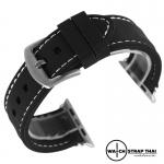 สายนาฬิกา Apple Watch สายนาฬิกายาง02 Apple watch rubber strap Black-White ขนาด 38 mm , 42 mm