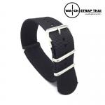 สายนาฬิกานาโต้ สายนาฬิกาผ้าไนลอน NATO Nylon Watch Strap Black มีขนาด 18 , 20 , 22 mm สำหรับ Rolex , Seiko , Omega