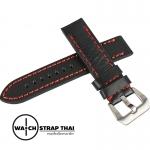 สายนาฬิกา สายนาฬิกาหนังวัว SET01 Leather Strap สีดำเดินด้ายแดง Black Leather Watch Strap 22 mm