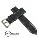 สายนาฬิกาหนังจระเข้แท้สำหรับ Panerai (Pam) Genuine Crocodile Leather Watch Strap Black ด้ายขาว ขนาด 24mm