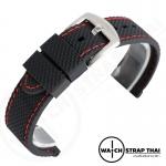 สายนาฬิกายาง SET03 เดินด้ายแดง Rubber Watch Strap Red มีขนาด 20 mm