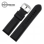 สายนาฬิกายาง เดินด้ายขาว SET02 Rubber Watch Strap White มีขนาด 20,22,24 mm