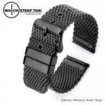สายนาฬิกา สแตนเลท Stainless shark watch strap BLACK SET02 ขนาด 20 , 22 mm สำหรับ Rolex Submarine , Seiko