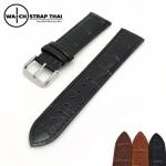 สายนาฬิกาหนังวัว ลายจระเข้ Cowhide with Crocodile Pattern Watch Strap Black 01 ขนาด 18 mm ,20mm,22mm