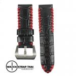 สายนาฬิกาหนังวัว ลายจระเข้ เดินด้ายแดง Cow hide with Crocodile Pattern Watch Strap BLACK 01 ขนาด 24 mm