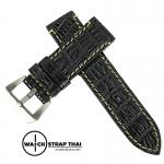 สายนาฬิกาหนังจระเข้แท้สำหรับ Panerai (Pam) Genuine Crocodile Leather Watch Strap Black ด้ายเหลือง ขนาด 24mm