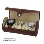 กล่องใส่นาฬิกา กล่องนาฬิกาแบบพกพาความจุ 3 เรือน สีน้ำตาล WATCH BOX 3 ทำจากหนังอย่างดี