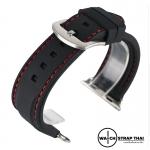 สายนาฬิกา Apple Watch สายนาฬิกายาง02 Apple watch rubber strap Black-Red ขนาด 38 mm , 42 mm