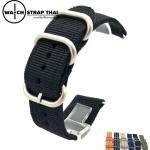 สายนาฬิกา สายนาฬิกาผ้าไนลอน SET02 Black Nylon Watch Strap สีดำ Black มีขนาด 20 , 22 mm
