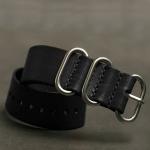 สายนาฬิกาซูลูสายหนัง สายนาฬิกาหนังวัว Zulu Leather Strap Black ขนาด 20,22,24 มม