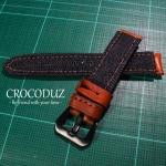 สายนาฬิกาผ้ายีนส์ สายนาฬิกาหนังวัว ฟอกฝาด Genuine Leather Strap