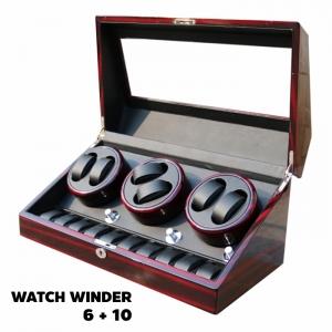กล่องหมุนนาฬิกา AUTOMATIC WATCH WINDER BROWN กล่องใส่นาฬิกา 6 x 10 เรือน รับประกัน 1 ปี