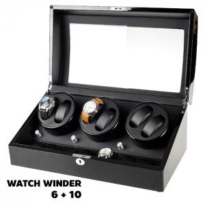 กล่องหมุนนาฬิกา AUTOMATIC WATCH WINDER BLACK กล่องใส่นาฬิกา 6 x 10 เรือน รับประกัน 1 ปี