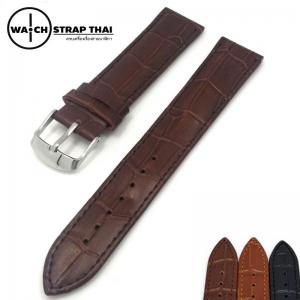 สายนาฬิกาหนังวัว ลายจระเข้ Cow hide with Crocodile Pattern Watch Strap Dark Brown 01 ขนาด 18 mm ,20mm,22mm