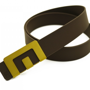 เข็มขัด MIN Belt หัวทอง - สายน้ำตาล